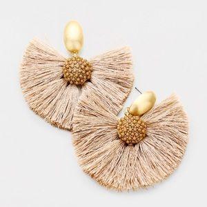 Beaded fan tassel tan bauble dangle earrings